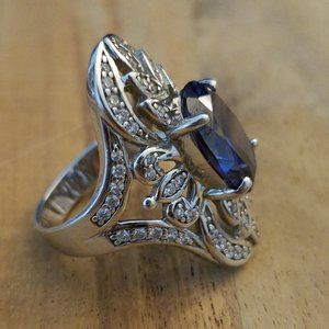 Stunning Blue & White Crystal Sterling Silver Ring